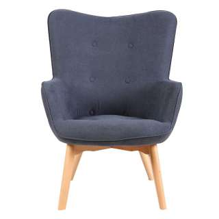 Skandi Design Sessel in Grau Webstoff 45 cm Sitzhöhe