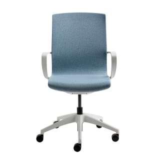Mesh Schreibtischstuhl in Hellblau und Lichtgrau höhenverstellbar