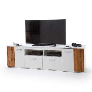 TV Lowboard in Weiß Hochglanz Wildeiche Optik