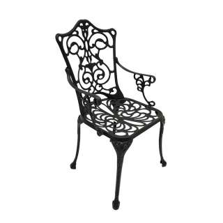Vintage Gartenstuhl aus Aluminium Dunkelgrau