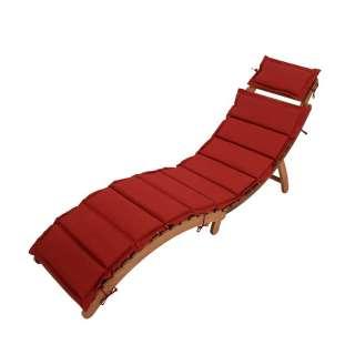 Balkonliege in Rot Webstoff Akazie Massivholz