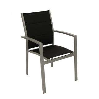 Balkonstühle in Schwarz und Silberfarben Armlehnen (4er Set)