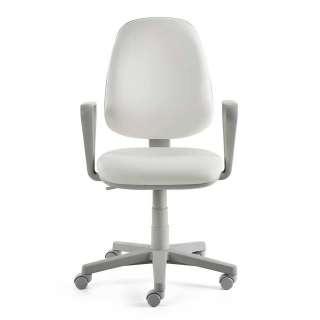 Schreibtischsessel in Weiß Kunstleder hoher Lehne