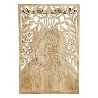 Massivholz Wandbild mit Buddha Motiv 60 cm breit