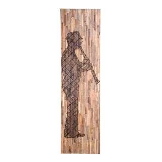 Wanddeko aus Mangobaum Recyclingholz Musiker Motiv