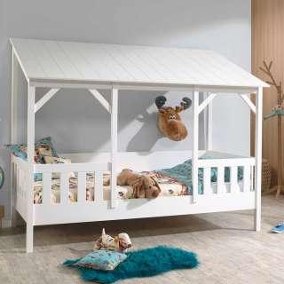 Kinderzimmerbett in Weiß Kiefer teilmassiv Dach