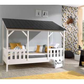 Kinderbett in Weiß Kiefer teilmassiv Dach
