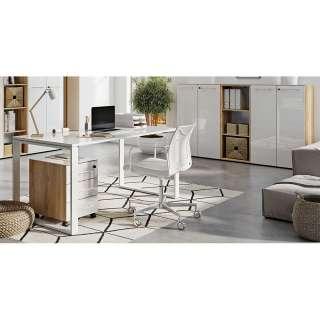 Office Möbel Set in Weiß und Wildeiche Optik Made in Germany (5-teilig)