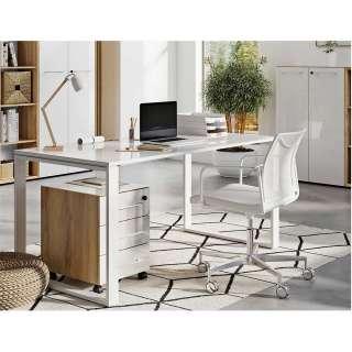 Arbeitszimmermöbel Set in Weiß und Wildeiche Optik Glas beschichtet (3-teilig)