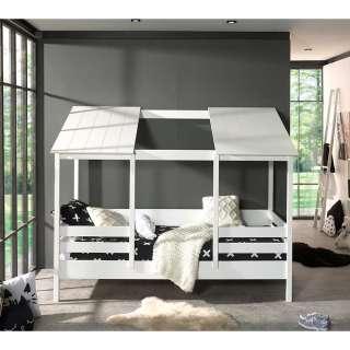 Haus Kinderbett in Weiß Kiefer teilmassiv