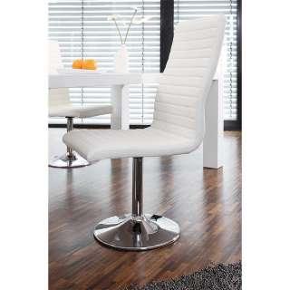 Drehbare Stühle in Weiß Kunstleder hoher Lehne (4er Set)