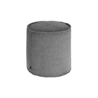 Pouf in Grau Cordstoff 45 cm hoch