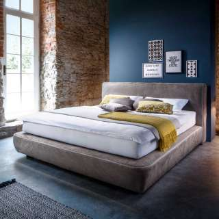 Amerikanisches Bett in Taupe Microfaser Made in Germany