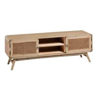 TV Lowboard aus Massivholz und Rattan 150 cm breit