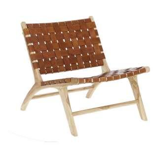 Sessel aus Teak Massivholz braunem Echtleder