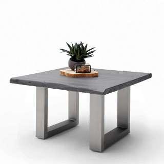 Sofa Tisch aus Akazie Massivholz grau Baumkante