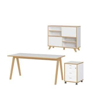 Bürokombination in Weiß und Wildeiche Optik Skandi Design (3-teilig)