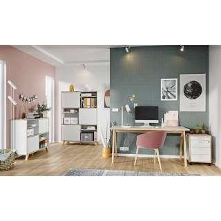 Büromöbel Sets in Weiß und Wildeiche Optik Skandi Design (4-teilig)
