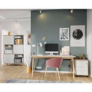 Büroausstattung im Skandi Design Weiß und Wildeiche Optik (3-teilig)