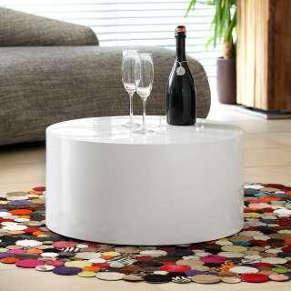 Design Couchtisch in Zylinderform Weiß