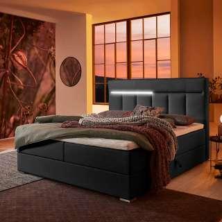 Amerikanisches Bett in Schwarz Kunstleder LED Beleuchtung und Bettkasten