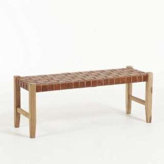 Holzbank mit brauner Sitzfläche aus Echtleder 120 cm breit