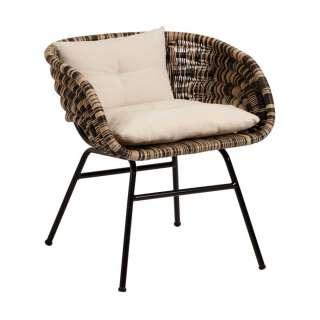Lounge Sessel aus Rattan und Stahl modern (4er Set)