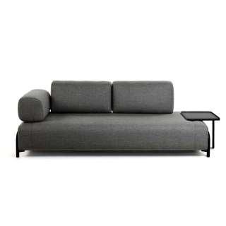 Couch in Dunkelgrau Webstoff abnehmbarem Stecktisch