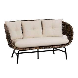Rattan Sofa in Beige und Schwarz handgearbeitet