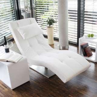 Relaxliege in Weiß Kunstleder modern