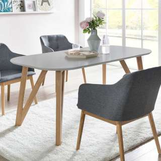 Ovaler Esszimmertisch in Grau 4-Fußgestell aus Eichenholz