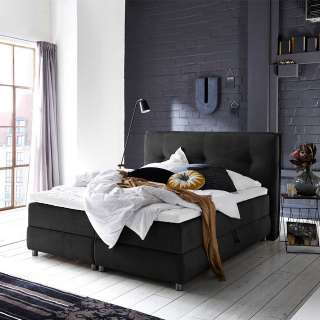 Springboxbett in Schwarz Webstoff Bettkasten