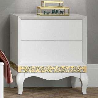 Wäschekommode in Weiß und Goldfarben italienischen Design