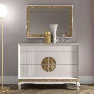 Anrichte und Spiegel im italienischen Design Weiß und Goldfarben (2-teilig)