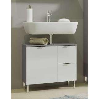 Waschkommode in Weiß Hochglanz und Dunkelgrau 60 cm breit
