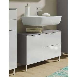 Waschbeckenunterschrank in Weiß Hochglanz und Dunkelgrau 80 cm breit