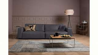 Teppich Tile - Kunstfaser - Grau / Creme - 80 x 200 cm, Top Square