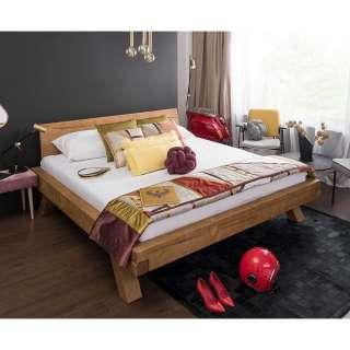 Balken Holzbett aus Fichte Massivholz rustikalen Landhausstil