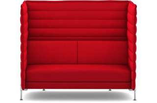 Vitra - Alcove Highback 2-Sitzer Sofa - Bezug Laser rot - Gestell glanzchrom - indoor