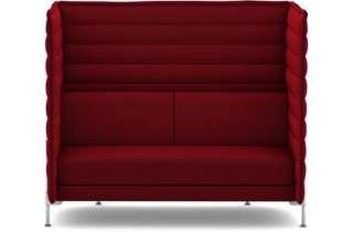 Vitra - Alcove Highback 2-Sitzer Sofa - Bezug Laser dunkelrot - Gestell glanzchrom - indoor