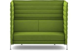 Vitra - Alcove Highback 2-Sitzer Sofa - Bezug Laser grün - Gestell glanzchrom - indoor