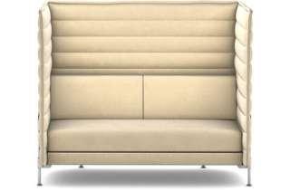 Vitra - Alcove Highback 2-Sitzer Sofa - Bezug Laser elfenbein - Gestell glanzchrom - indoor