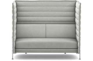 Vitra - Alcove Highback 2-Sitzer Sofa - Bezug Laser stonegrey - Gestell glanzchrom - indoor