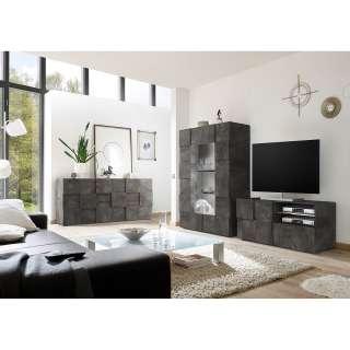 Wohnzimmer Sideboard in Dunkelgrau Echtholz furniert