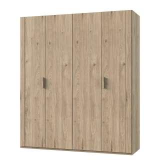 Wohnwand Maquili I (4-teilig) - Kiefer teilmassiv - Kiefer Weiß / Kiefer Taupe - Vitrinenelement links, Maison Belfort
