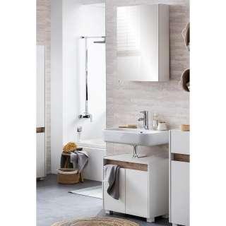 Wohnzimmer Sideboard in Weiß und Eiche 160 cm breit
