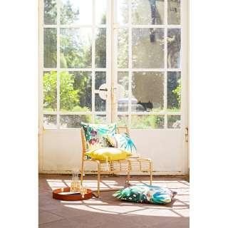 Wohnzimmervitrine in Creme Weiß und Eichefarben LED Beleuchtung