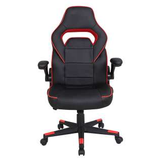 Gaming Sessel in Schwarz und Rot verstellbaren Armlehnen