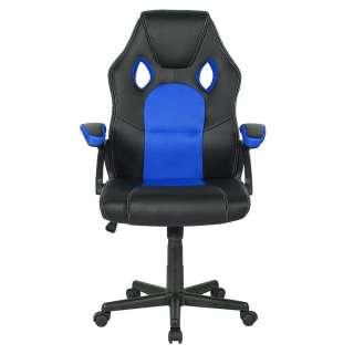 Gaming Schreibtischstuhl in Schwarz und Blau verstellbaren Armlehnen