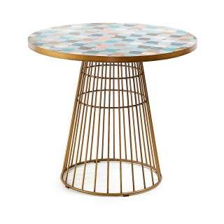 Design Tisch in Bunt und Goldfarben runder Keramikplatte